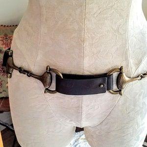 Suzi Roher Brown Leather & Brass Belt